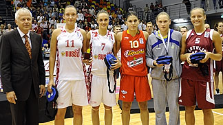 The All Tournament Team of the U20 European Championship Women 2010 Tatiana Petrushina, Anastasia Logunova (both Russia), Marta Xargay (Spain), Alina Iagupova (Ukraine) and Sabina NIedola (Latvia)